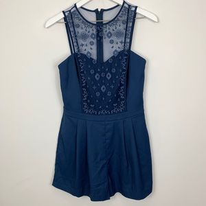 Greylin Romper Royal Blue Lace High Neck Shorts Sm
